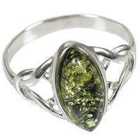 """Green Amber Celtic Ring - North/South Celebrate nature's rebirth this spring with a green amber ring! Our """"North/South"""" ring enfolds a marquise-shaped piece of green amber in a Celtic-inspired knotwork setting of sterling silver twists and turns.    Made in Poland from 100% Baltic amber mined in Russia or Lithuania, widely held to be the best in the world. Amber's ability to hold static energy has contributed to its magical reputation for attracting good fortune, healing, and luck…"""
