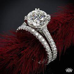 pave-elena-diamond-engagement-ring-and-elena-diamond-wedding-ring-in-platinum-by-whiteflash #diamondweddingrings