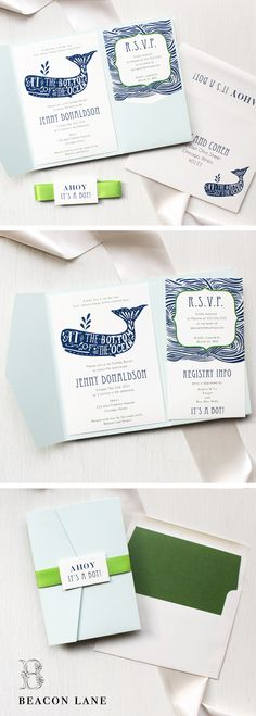 """Blue Whale"" Baby Shower Invitations are sweet and cuddly, cute and fun. We're sure to have the perfect invite to shower the new mom!"