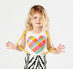 Big Heart Tank in Fluorescent Plaid with Glow in the Dark Ink