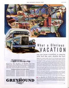 Vintage Ads: Mid-Century Travel by Boat, Bus, Plane, and Train Vintage Advertisements, Vintage Ads, Bus Travel, Train Travel, Advertising History, Visit Colorado, Saturday Evening Post, Christmas Train, Vintage Travel Posters