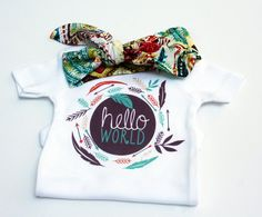 Items similar to Hello World Coming Home Outift, Baby set with Organic Bamboo Hat, Boho Baby Clothes, Baby Shower Gift, Twins Coming Home Outfit on Etsy Baby Girl Fashion, Kids Fashion, Baby Shower Gifts, Baby Gifts, Baby Coming Home Outfit, Newborn Onesies, Precious Children, Boho Baby, Baby Sewing