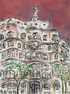 cuadro la Pedrera de Barcelona#pintura de la pedrera Gaudi# Gaudi barcelona cuadro# Pinturas sobre Barcelona# pinturas murales#