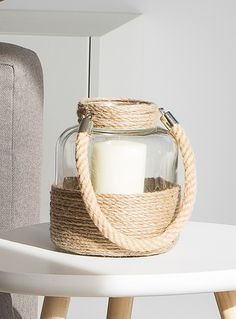Jute and glass lantern | Simons Maison | Decorative Candles: Shop Scented, Votive & Other Candles in Canada | Simons