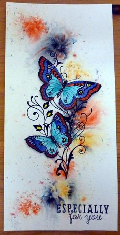 Chocolate Baroque stamp Butterfly Artwork, Butterfly Cards, Dragonflies, Art Journals, I Card, Baroque, Watercolor Tattoo, Stamping, Butterflies
