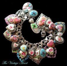 LOVE-LOVE-LOVE  Heart Charm Bracelet  The Vintage Heart