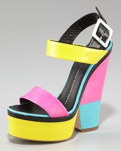 Giuseppe Zanotti Neon Colorblock Platform Sandal