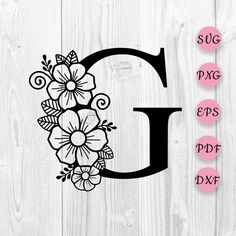 Flower Alphabet, Flower Svg, Cool Lettering, Floral Letters, Flower Doodles, Adult Coloring Pages, Shabby, Designs To Draw, Flower Patterns