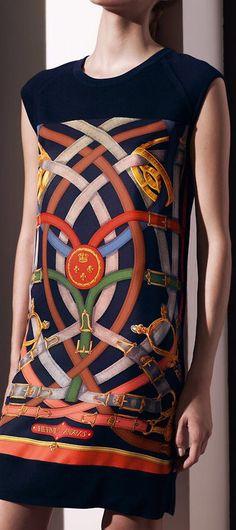 """Hermes ~ Twillaine dress w """"Cavalcadour"""" scarf 2014"""