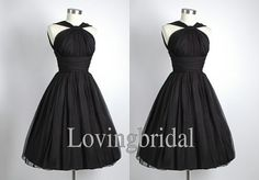Short Black Chiffon Evening Dress Bridesmaid Dress Prom Dress  Wedding Party Dresses Bridesmaid Gown Bridesmaid Dress 2013 on Etsy, $70.00
