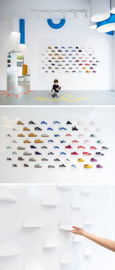 "A Bright White Facade Helps ""Little Stories"" Stand Out In This Spanish Neighborhood - In this modern retail store, magnetic display plates on the walls and movable stands on the floor al - Shoe Display, Display Design, Deco Design, Kids Store Display, Shoe Store Design, Retail Store Design, Retail Interior Design, Retail Stores, Boutique Cuir"
