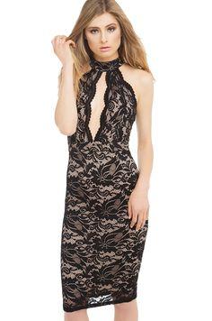 ShopAKIRA | Midi dress | black midi dress | lacey, high neck midi dresses-AKIRA