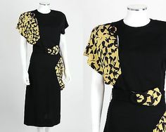 VTG 1930s 1940s BLACK RAYON CREPE YELLOW PRINT DRAPED DETAIL DRESS BELT SZ S