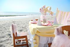 Just gorgeous... What a fabulous party setup at the beach! #birthday