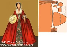 Costume Patterns, Dress Patterns, Sewing Patterns, Historical Costume, Historical Clothing, Drag Clothing, Elizabethan Dress, 17th Century Fashion, Barbie Costume