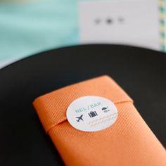 Servetstickers | Ticket naar de Zon #retirement #housewarming #deco #stickers #napkins #Beaublue