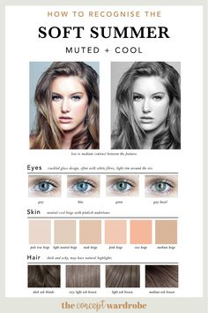 If you have just discovered that you are a Soft Summer in the seasonal colour analysis, find out which colours look best on you. Soft Summer Makeup, Winter Makeup, Summer Skin, Dark Summer, Soft Summer Color Palette, Summer Colors, Summer Color Palettes, Light Spring Palette, Skin Undertones