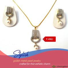 Stylish golden metal-pearl jewelry crafted for that esthetic #Classyplus #JewelrySet #Woman #Fashion#PartyWear