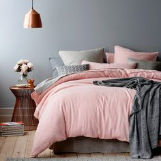 Home Republic Vintage Washed Linen Bedlinen Current - Bedroom Quilt Covers & Coverlets - Adairs online