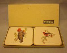 Set 6 Australian Birds Coasters with Box Cork Cockatoo Kingfisher Kookaburra