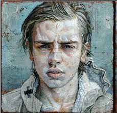 Daniel Barkley Vincent B, l'hiver I (blueish ground) 2011 acrylic on canvas/acrylique sur toile 25 x 25 cm, x Gallery Magazine, Canadian Painters, Portrait Art, Portraits, Artistic Portrait, Portrait Paintings, Art Of Man, Pixel, Figure Drawing
