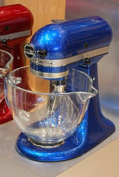 Electric Blue Kitchen Aid Mixer...don't care about color, but I love the clear bowl