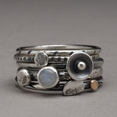 OOAK Rainbow moon stone Silver stack ring set by hammeredbywendy