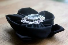Black and silver hair clip by HBluesky on Etsy