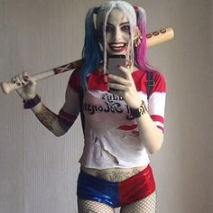 And there you go this is my profile pic. Some of you Guys wanted really to see it so there you go.  Its the last Harley pic like this. Next ones gonna have the shoes gun and spiked brancelets!!!! yasssss!  We are doing progress! And after that?! It will be the time to hit some huge con!!!!  #margotrobbie #suecidesquad #harleyquinn #harleyquinnmakeup #harleyquinncosplay #dc #puddin #joker #polishcosplay #polishcosplayer #cosplay #cosplayer #villain #villains #joker #jokercosplay…