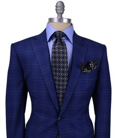 Blue, this summers only color - Ermenegildo Zegna | Bright Blue Bold Plaid Sportcoat
