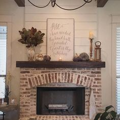 Great is thy Faithfulness, Farmhouse sign, shiplap accent Corner fireplace, Farmhouse style, Rustic Decor Farmhouse Fireplace, Home Fireplace, Fireplace Remodel, Fireplace Design, Fireplace Mantels, Mantles, Country Fireplace, Brick Fireplace Decor, White Wash Brick Fireplace