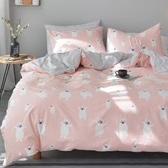 Personalized Blush Pink White and Gray Polar Bear Print Wild Animal Themed Cute Girly Girls Twin, Full Size Sets Girls Bedroom Sets, Wood Bedroom Sets, White Bedroom Furniture, Gray Bedroom, Childrens Bedroom, Kids Bedroom, Bedroom Ideas, Construction Bedroom, Bedroom Night Stands