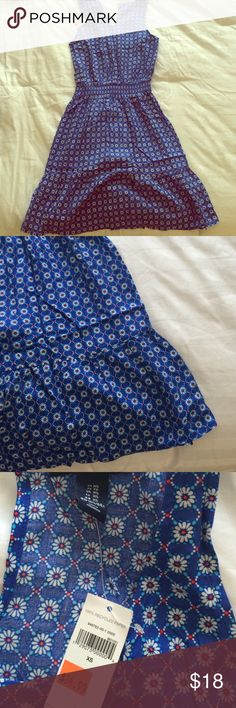 Blue Daisy sun dress Super Cute Blue Daisy sun dress.  Scoop neck, cinched waist with ruffle bottom.   Perfect length for woman 5'3-5'5. GAP Dresses