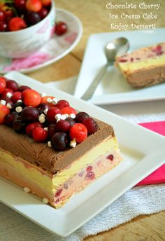 choc, van and cherry icecream (in Romanian) Cherry Ice Cream, Chocolate Cherry, Parfait, Tiramisu, Cheesecake, Food And Drink, Treats, Ethnic Recipes, Desserts