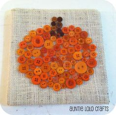 Auntie Lolo Crafts: Pumpkin Button Art with instructions Autumn Crafts, Fall Crafts For Kids, Thanksgiving Crafts, Holiday Crafts, Kids Crafts, Christmas Crafts, Craft Projects, Arts And Crafts, Craft Ideas