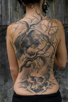 Raven and tree full back tattoo  - 60  Mysterious Raven Tattoos  <3 <3