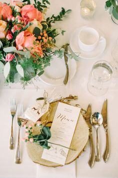 Woodland inspired table decor: http://www.stylemepretty.com/canada-weddings/alberta/2016/02/12/pink-woodland-fairytale-mountain-wedding/ | Photography: Corinna Walker - http://www.corrinawalker.com/
