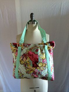 Parisian Print Tote In Mint, Large Tote Bag, Quilted Purse by MadeByMandyDesigns on Etsy