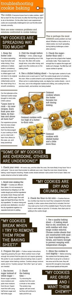 Cookies not turning out quite right? Let our handy troubleshooting guide help you out! http://www.kitchenkapers.com/news-archive-2013-milk-and-cookies.html #kitchenkapers #homemadeyum #milkandcookies