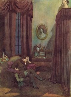 """'The Raven' from Edgar Allan Poe's """"The Bells and Other Poems"""" (1912) illustrated by Edmund Dulac"""
