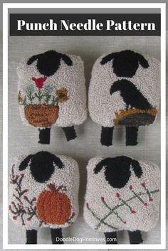 Punch Needle Pattern ~ Four Seasons of Sheep ~ Spring~Summer~Fall~Winter~folk art -punchneedle pdf Sheep Punch Needle Bowl Filler pattern for all seasons – Spring, Summer, Fall, & Winter Rug Hooking Designs, Rug Hooking Patterns, Embroidery Patterns, Hand Embroidery, Sheep Crafts, Punch Needle Patterns, Summer Fall, Fall Winter, Craft Punches