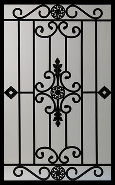 Wrought Iron Door Inserts - Dalemont Stocked by Randal's Wrought Iron & Stained Glass serving the Greater Toronto Area and surrounding areas. Window Grill Design Modern, Balcony Grill Design, Grill Door Design, Steel Gate Design, Iron Gate Design, Iron Windows, Iron Doors, Metal Doors, Metal Gates