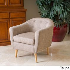 Metropolitan Club Mid-century Style Chair by Christopher Knight Home (Metropolitan Taupe Club Chair), Brown (Fabric)