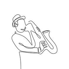 Continuous Line Drawing Of Jazz Musicians Playing Trumpet Music Instruments PNG and PSD Single Line Tattoo, Single Line Drawing, Continuous Line Drawing, Music Logo, Art Music, Jazz Instruments, Trumpet Music, Free Vector Graphics, Man Vector