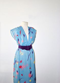 vintage dress  geometric print dress  deep v by MontanaSnowVintage, $24.00