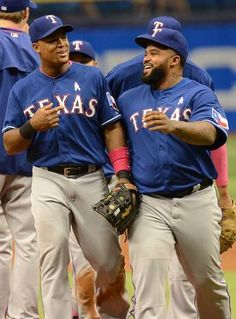 May 10, 2015; St. Petersburg, FL, USA; Texas Rangers designated hitter Prince Fielder (84) celebrates with Rangers third baseman Adrian Beltre (29) after defeating the Tampa Bay Rays 2-1 at Tropicana Field. Mandatory Credit: Jonathan Dyer-USA TODAY Sports