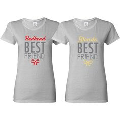 Bffs Matching T-Shirts Blonde and Redhead Best Friends T-Shirts Price... (£18) ❤ liked on Polyvore featuring tops, t-shirts, black, women's clothing, black tee, black t shirt and black top