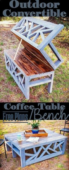 Outdoor Convertible Bench Coffee Table - Woodworking Plans #woodworkingbench