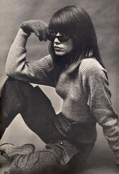 Françoise Hardy, photographed by Helmut Newton for Vogue, August 1, 1963.  #sunglasses