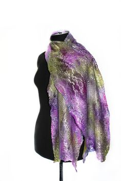 Handmade Felted Cobweb Scarf Hand Dyed Wool от FeltedPleasure